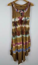 Summer brown tie dye beach dress fits up to XL, 1X, 2X Palm Tree coverup