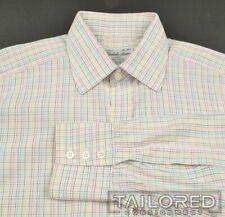 TURNBULL & ASSER White Colorful Check 100% Cotton Mens Luxury Dress Shirt - 15