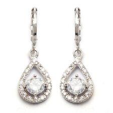 Teardrop Design Earrings Round Cubic Zircon White Gold Plated Lady Drop Earrings