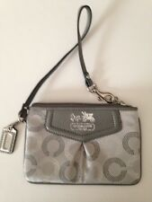 Coach Signature Madison Dotted Wristlet Gray Silver New