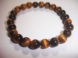 Gold Tiger Eye 8mm Bracelet Chakra Crystal Healing Prayer Meditation Premium