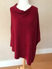 CASHMERE Fine Wool CRIMSON RED Poncho Wrap Topper One Size NWT