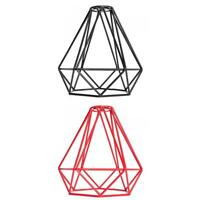 Vintage Industrial Style Diamond Ceiling Light Cage Lamp Shade Red+Black