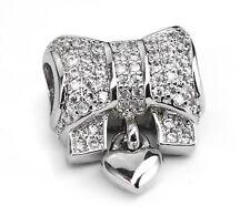 Bow Bowknot Charm Bead w/ Cubic Zirconia CZ For European Charm Bracelets