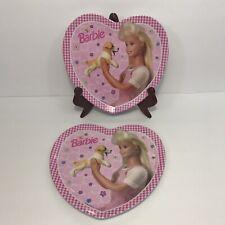 "Vintage 1996 Lot of 2 Barbie Heart Shaped 8"" Plates Puppy Pink Gingham Mattel"