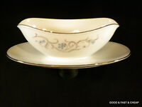 NORITAKE china ALICIA pattern ~ GRAVY BOAT / ATTACHED UNDER PLATE