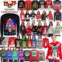 Womens Mens Ladies Unisex Xmas Christmas Jumpers Knit 3D LIGHT Fair Isle Novelty