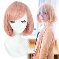 Kyokai no Kanata Kuriyama Mirai Cosplay Wigs Women Pink Bob Oblique Bangs Wig