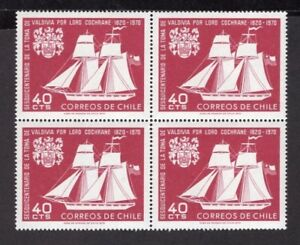 CHILE 1970 STAMP # 766 MNH SHIP LORD COCHRANE BLOCK OF FOUR