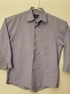 Calvin Klein Mens 16 1/2 32 / 33 Purple Pinstripe Regular Fit Button Up LS Shirt