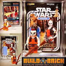 Star Wars Aurra Sing custom MINIFIGURE w Display Case & lego stand 337