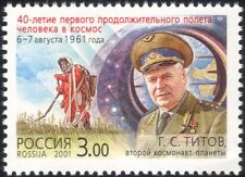 Russia 2001 Titov/Space Flight/Astronauts/Vostok 2/Rockets/Transport 1v (n28537)