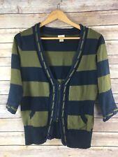 Daytrip Sweater M Medium Cardigan Olive Navy Stripe 3/4 Sleeve Cotton Blend
