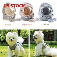 Dog Cat Vest Harness and Lead Adjustable Reflective Strap Vest  Mesh Small Pet C