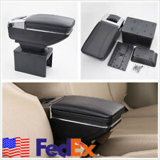 Black Multifunction PU Leather Car Container Armrest Box Storage Holder US Stock