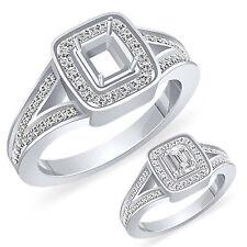 Engagement Ring 14k Gold White Bridal 0.70Ct Emerald G Vs2 Round Diamond Setting