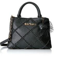 NWT Betsey Johnson BLACK CROSS YOUR HEART SATCHEL - HIGHLY COLLECTABLE!!