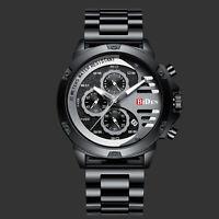 Men's Quartz Wrist Analog Watch 3 Dial Six Hands Black Face Stainless Steel Man