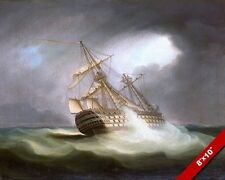 BRITISH SHIP HMS VICTORY IN FULL SAIL OCEAN ROUGH SEAS PAINTING ART CANVASPRINT
