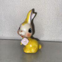 Vtg 1950-60's Mid-Century Japan Bisque Yellow Bunny Rabbit Spring Mini Figurine