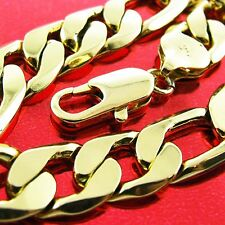 Fsa709 Genuine Real 18K Yellow G/F Gold Solid Mens Heavy Pendant Necklace Chain