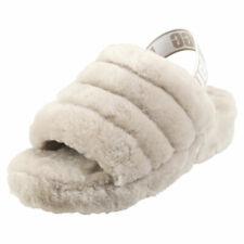UGG Fluff Yeah Slide Womens Grey Sheepskin Slippers Sandals