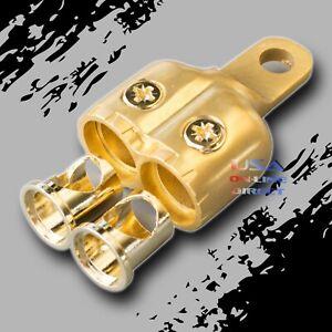 1/0-2GA. GOLD Dual 0/2 AWG Gauge Ring Battery Terminal Adapters Marine Audio