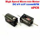 2PCS 15mm Micro 010 Motor DC 6V 12V 24V High Speed Dual Shaft Toy Car Rail Train