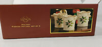 Set Of 3 Lenox Holiday Pierced Votives Holly Berry New In Box