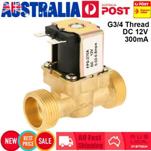 "DC 12V Brass Electric Solenoid Valve Water Air 3/4"" Normal Closed G3/4 300mA AU"