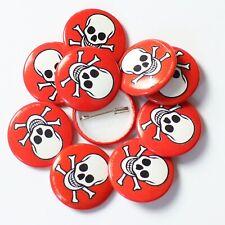 Wholesale 25mm Badges White Skull & Crossbones on Red