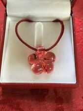 MIB FLAWLESS Stunning BACCARAT Crystal Pink LILY BLOSSOM FLOWER PENDANT NECKLACE