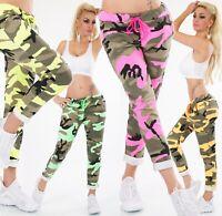 ITALY Damen Hose Sweat Baggy JogPants Freizeithose Camouflage Army Look 34-38
