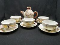 11pc Japanese Dragonware Tea Set Lithophane Bottom Cups enaamel beaded porcelain