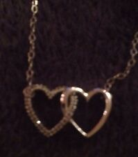 "16"" 10K White Gold Heart Diamond  Necklace B12"