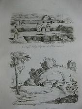 1834 Voyage autour du monde Urville 4 gravures double feuille Japon Liou-Tchéou