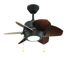 """Oil Rubbed Bronze Dual Mount 6-Blade Ceiling Fan 24"""" Led Light, Cherry/Driftwood"""