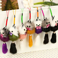 Womens Mink Fur Fox Keychain Tassel Bag Tag Car Key Ring Charm Handbag Pendant