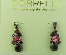 Sorrelli Pink Orchid Earrings ECF6AGPOR antique gold tone
