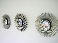 Set of 3 Silver Mirrors Antique Style Rustic Round Mirror Wall Mounted Moroccan