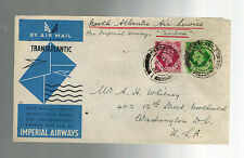 1939 England First Flight Cover to USA  FFC via Imperial Airways