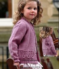 (54) DK Kniting Pattern for Girls Cable-Edged Cardigan, 20-30''