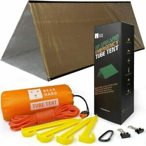 Bearhard Emergency Tent, 2 Person Tube Tent Survival Shelter With Paracord,