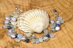 "Gorgeous QVC Sterling Silver Beaded Chain Multi Gemstone Bracelet 6.75"" - 8.25"""