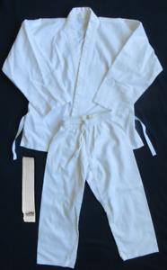 Pro Force White Gi Karate Martial Arts Uniform Pants Belt Top Student Youth 00