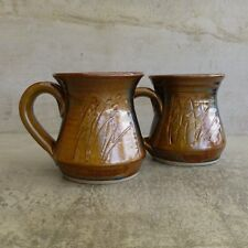 2  Yarra Glen Pottery Coffee Mugs 300mls Australian Studio Pottery Stoneware cup