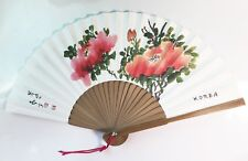 "Korean Art Hand fan "" Paeonia "" Traditional Collapsible 45cm x 25cm 17.5"""