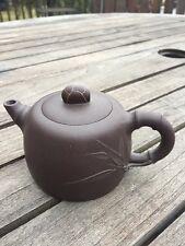 Chinese Black Clay Yixing Teapot, Bamboo Motif, Marked Base