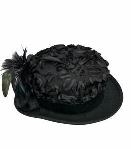 Vintage Bollman Doeskin Wool Hat Black Feathers Ribbon Satin Rose Bow