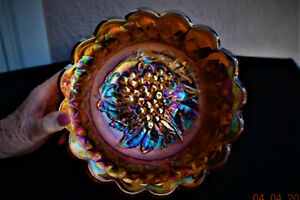VINTAGE MARIGOLD CARNIVAL GLASS BOWL IMPERIAL GLASS CO.